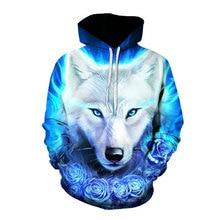 купить Men's Hoodie Wolf 3D Graphic Full Print Casual Unisex Pullover Hooded Sweatshirts дешево