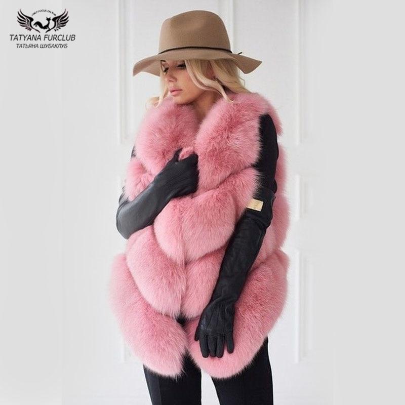 Tatyana Furclub Girl Fur Vest Real Natural Fox Coat Women Jacket  Fashion Warm