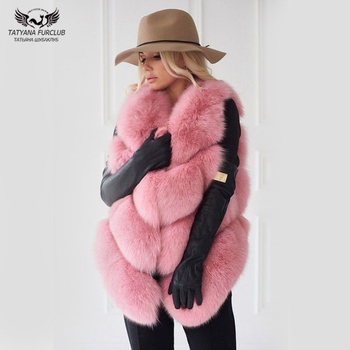 Tatyana Furclub Girl Fur Vest Real Natural Fox Coat Women Jacket  Fashion Warm