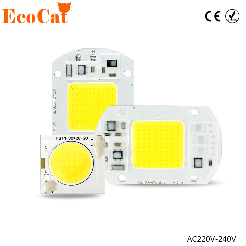 ECO Cat LED Lamp Chip 220V 5W 10W 20W 30W 50W Cold White Warm White led COB Smart IC Driver Fit For DIY LED Spotlight Floodlight led cob lamp chip 5w 20w 30w 50w led chips 220v input smart ic driver fit for diy led floodlight spotlight cold white warm white