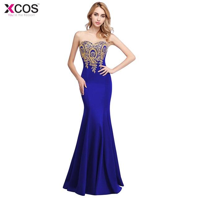 brand new 9ee01 d4455 Neue Abendkleider Lange Scoop Meerjungfrau Blau Gold Spitze Prom Kleider  2019 frauen Herrliche Formal Abend Party