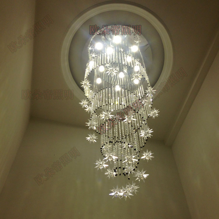Simple ceiling lighting lamp, spiral long chandelier, rotating staircase light, double living room lamp, modern crystal SJ130 modern chinese simple villa crystal block long line led chandelier s type rotating double staircase living room lighting led