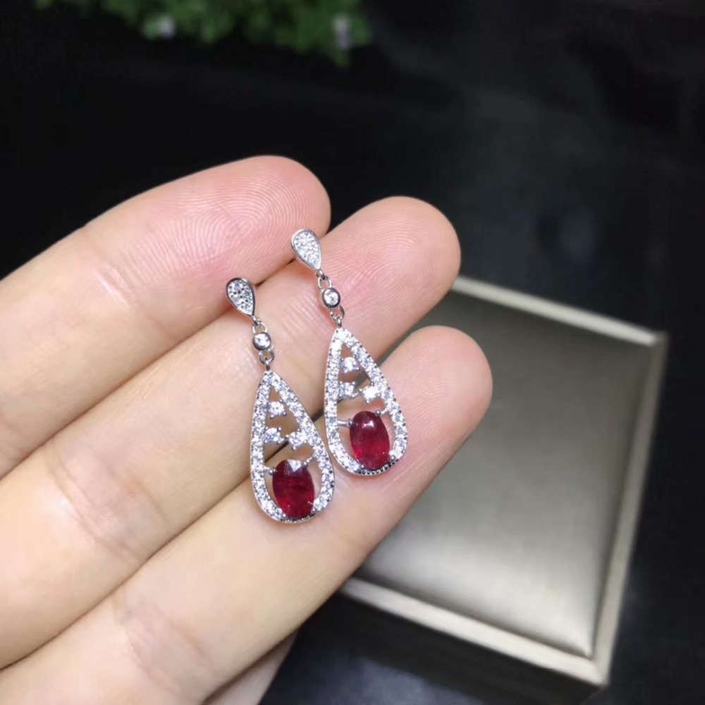 natural red ruby stone drop earrings 925 silver Natural gemstone earring women Luxurious Retro Water drop party gift jewelry цена 2017