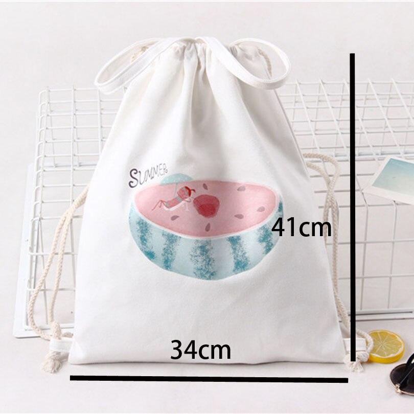 White Drawstring Bag Backpacks For Teenage Girls Fashion Women Cute Animal Print Rucksack Travel Softback String Pouch Sack Bags #4