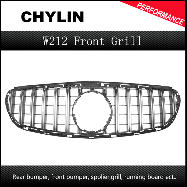 W212 GT R Grille For E Class W212 2013 2015 MESH Grill Emblems Mesh Radiator Front Bumper Grills
