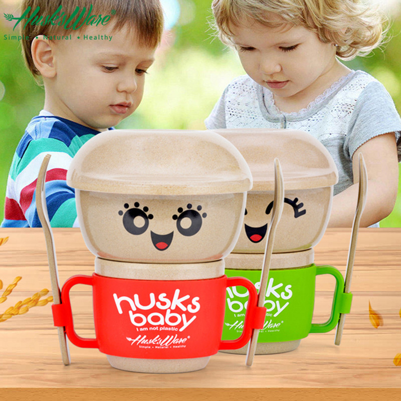HUSKS WARE Eco-friendly Rice Husk Baby Table Dinner Set Girl Boy Kids Cutlery Baby Dinnerware Sets Children Tableware