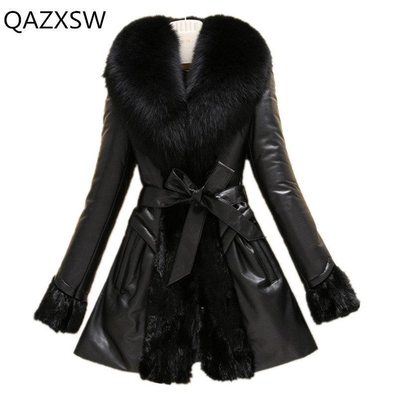 2019 New Women's Winter Genuine Leather Jacket Leather Down Outer Long Fox Fur Collar Sheepskin Slim Thick Warm Coat Lb120