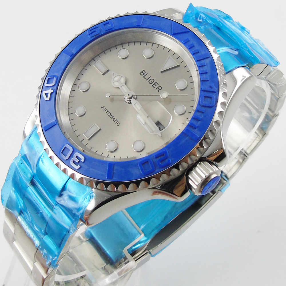 Bliger 40mm gray dial date blue Ceramics Bezel Stainless steel case saphire glass Automatic movement Mens watchBliger 40mm gray dial date blue Ceramics Bezel Stainless steel case saphire glass Automatic movement Mens watch
