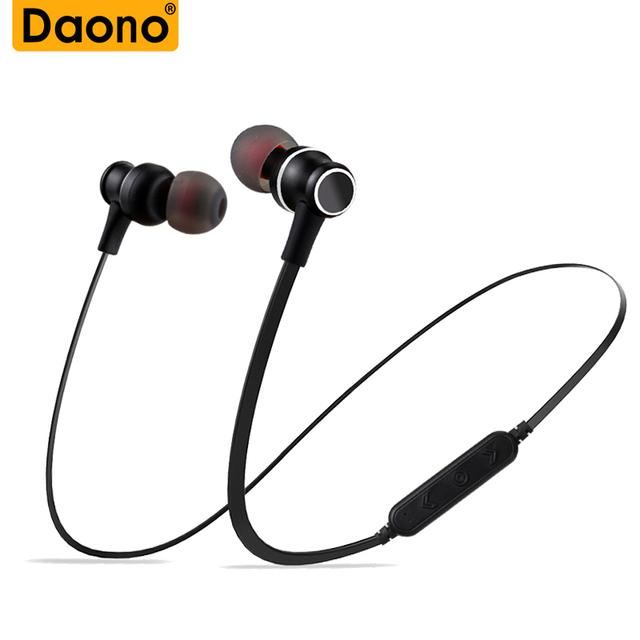 2018 DAONO New Bluetooth Earphone Sweatproof Gym Sport HIFI Wireless Music Magnet Headphones Support Micro SD TF With MIC