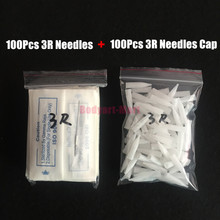 Tattoo Needles 3R And 3R Caps Each 100pcs Disposable Sterilized Professional For Tattoo Eyebrow Pen Machine Permanent Makeup Kit