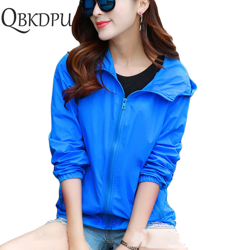 Mom's plus size 7XL Casual sun UV protection outwear Outdoor sports lightweight zipper Solid color   basic     Jacket   summer women men