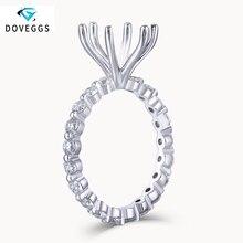 Doveggs 14 k 585 ouro branco 2.2mm moissanite lado pedra eternidade banda semi montagem com 6 configuração de pinos para diâmetro 8.5mm de pedra