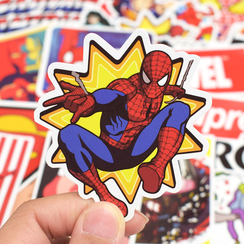 Image 4 - 50pcs Super Hero Marvel Stickers Movies Character Deco Sticker For DIY Skateboard Motorcycle Luggage Laptop Cartoon Sticker Sets-in Laptop Skins from Computer & Office