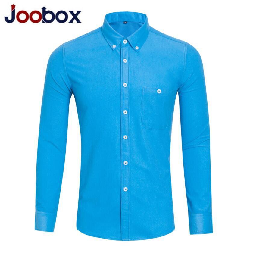 Joobox 2109 Nieuwe Shirts Mannen Kleding Lange Mouwen Corduroy Dress Shirt Herfst Merk Casual Mannen Shirt Effen Mannelijke Slanke Fit Shirt Weelderig In Ontwerp