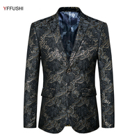 YFFUSHI מעיל חליפת גברים הגעה חדשה יוקרה עיצוב אקארד שני כפתורים מסיבת מגיש שמלה Masculino ליזר Slim Fit Plus 6XL