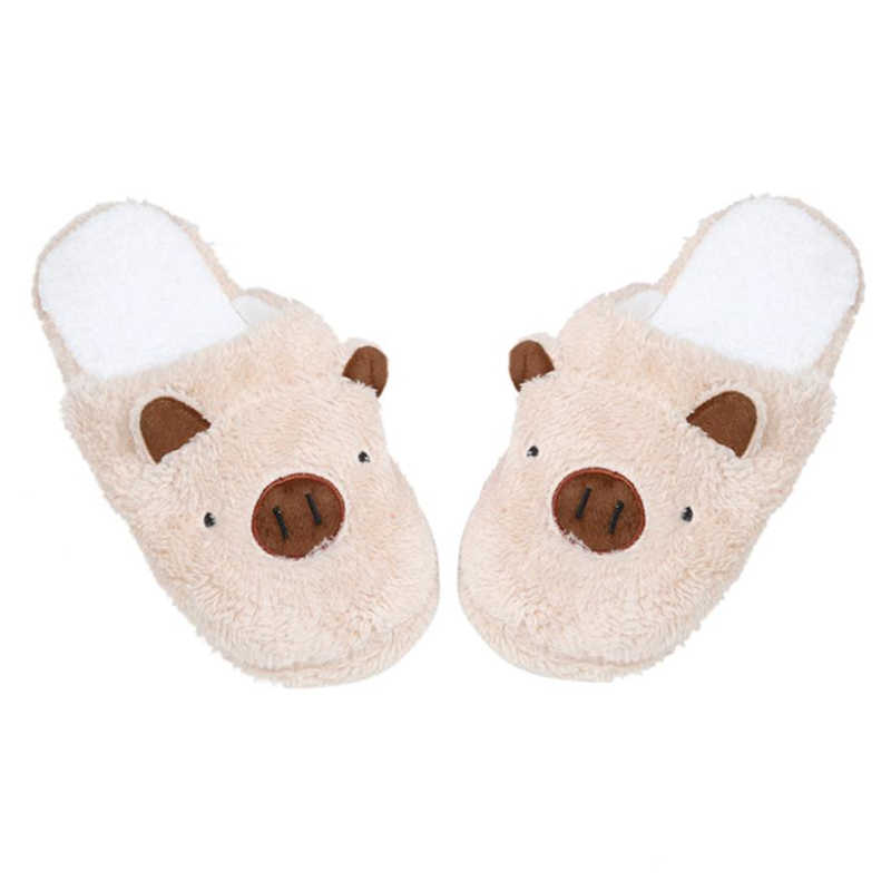 2018 Spring/Autumn New Fashion Slippers Cute  Lovely Pig Home Floor Soft Stripe Slippers Female Fleeces Indoor Shoes