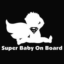 Superman Super Baby on Board Funny Car Sticker for Truck Stroller Window Bumper Kayak Hand Carving Die Cut Vinyl Decal 9 Colors