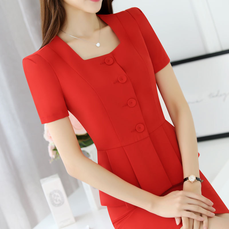 2018 Spring And Summer New Style Skirt Suit Female Short-sleeved Fashion Style Two-piece Solid Color Small Suit Work Wear