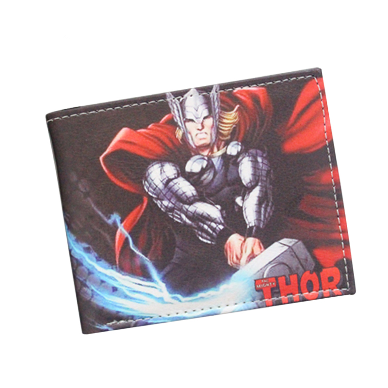 Avengers Thor Animated Cartoon Wallet Young Students Personality Short Wallet Loki Comics Purse Boys Girls Fashion Slim Wallet pixels pacman wallet 3d embossing short purse for student boy girls slim silicone wallet game cartoon designer wallet billeteras
