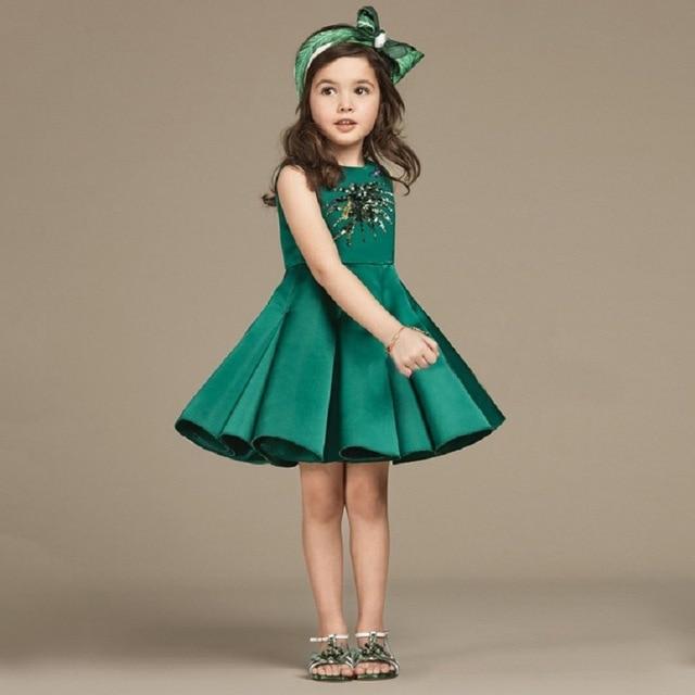 f104cadb8a77 Vestito Da Partito della ragazza 2017 Ragazze di Estate Moda Paillettes  Verde Libellula Partito TUTU Abiti