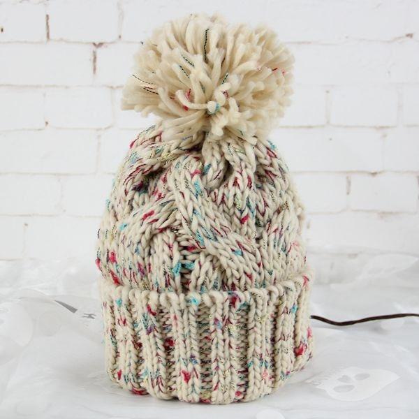 BomHCS Women's Fashion Winter Warm Crochet Beanie 100% Handmade Knitted Hat Cap bomhcs mosaic contrast color women s fashion winter soft warm crochet beanie handmade knitted hat cap