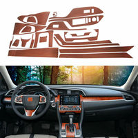 BBQ@Fuka Wood Color Car Steering Wheel cover Console Panel Decals interior Sticker For Honda Civic 2016 2018 car styling