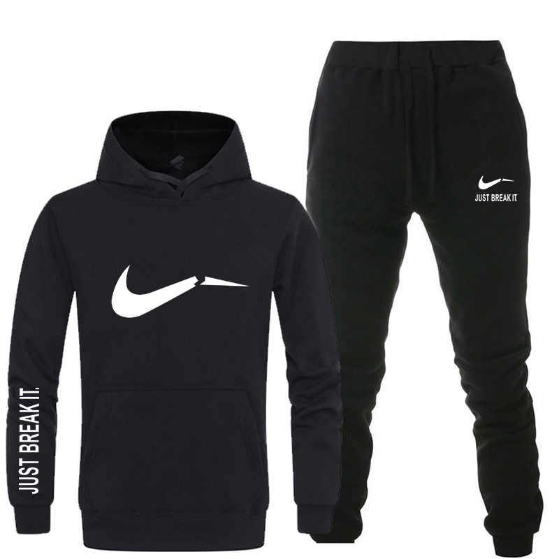 dba8e624fb0b35 New 2018 Brand Tracksuit men thermal underwear Men Sportswear Sets Fleece  Thick hoodie+Pants Sporting