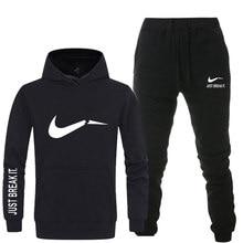 ef057be3d1e4f Yeni 2018 Marka Eşofman erkekler termal iç çamaşır Erkekler Spor Setleri  Polar Kalın hoodie + Pantolon