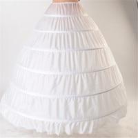 2015 High Quality White 6 Hoops Petticoat Crinoline Slip Underskirt For Wedding Dress Bridal Gown In