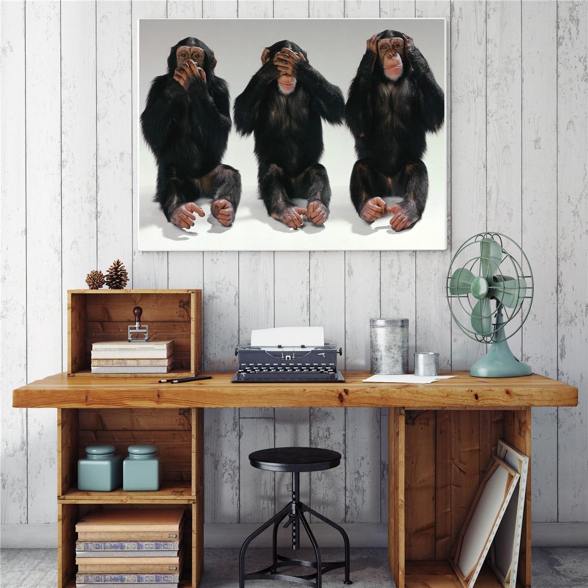 US $5 14 Hewan Lucu Monyet Gorila Orang Ekspresi Kanvas Cetak Lukisan Modern Gambar Dinding Seni Dekorasi Rumah 1 Pcs Painting & Calligraphy