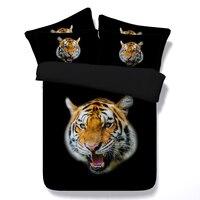 Tiger 3d baskılı siyah yatak tam cal kral tek ikiz boyutu çocuklar yatak örtüleri 3/4 adet yorgan nevresim yatak çarşafları boy 500tc