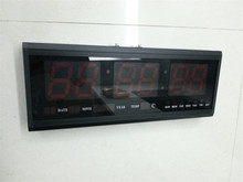 HT4819SM-1,Free Shipping,Aluminum Large Digital LED Wall Clock ,Big Watch Modern Design,Digital clock! Led electronic calendar