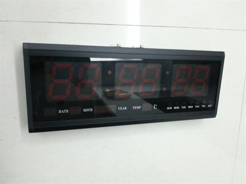 HT4819SM-1,Free Shipping,Aluminum Large Digital LED Wall Clock ,Big Watch Modern Design,Digital clock! Led electronic calendar wholesale free shipping china custom plastic cool light fashion big mens boy waterproof led alarm electronic digital watch