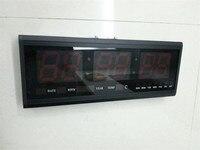 HT4819SM 1 Free Shipping Aluminum Large Digital LED Wall Clock Big Watch Modern Design Digital Clock
