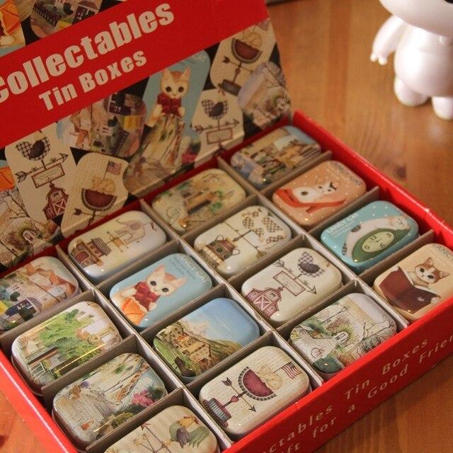 32 pcs/set Mini Metal Tin Box Container Christmas Gift Candy Boxes, Cut Cat Cartoon Print Iron Box tea Storage Organizer Box