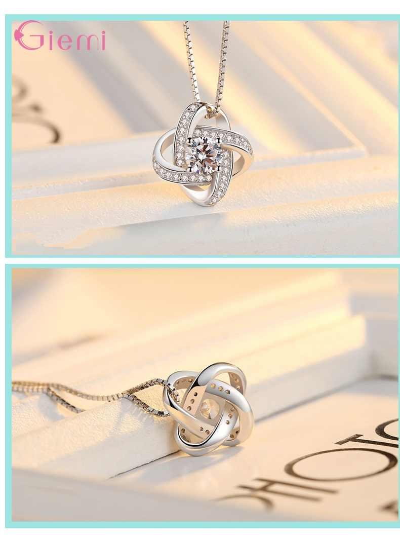 Hot البيع مجوهرات الزفاف مجموعة 925 الفضة التي لا نهاية لها الحب قلادة أقراط خواتم للنساء المشاركة Anelli العصرية مجوهرات