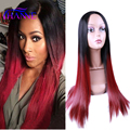 "Cheap Black/Red Ombre Synthetic Wigs For Black Women Nicki Minaj 28""Long Straight Heat Resistant Freetress Hair Synthetic Wig"