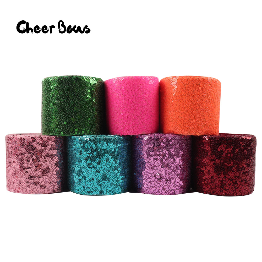 Wholesale 50Y 75mm Sequin Ribbon Solid Color Ribbon Laser Sequin For DIY Hair Bows Party Clothes