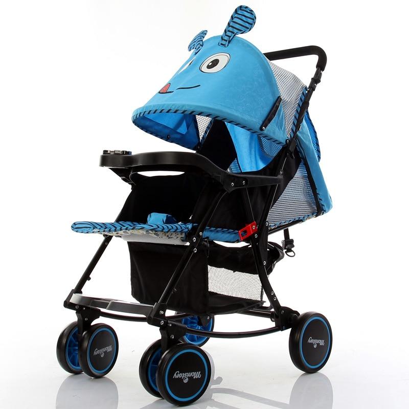 Cartoon Baby Stroller Foldable Rocking Horse Can Lie Flat Lightweight Baby Pushchair Pram Travel Umbrella Stroller Buggy 0~3Y baby stroller folding rocking horse pushchair infant stroller gold frame