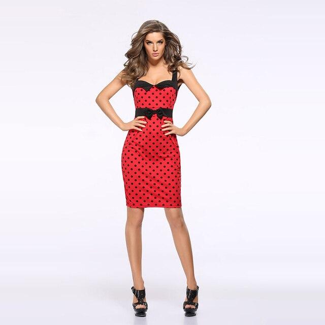 Polka dot dress azul rojo túnica vestidos de fiesta mujeres sexy vestido de  tirantes dress robe 9c3257db6d53