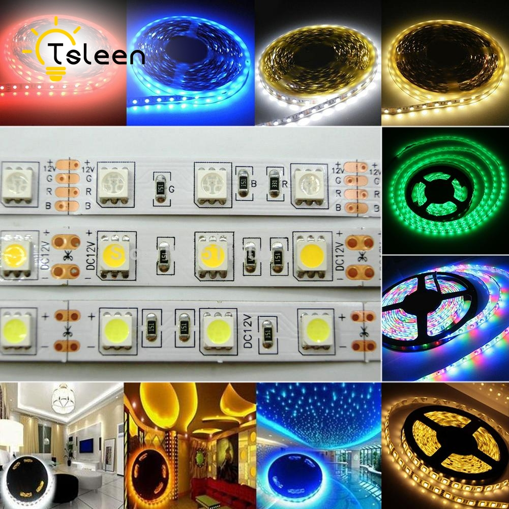 TSLEEN IP65 Waterproof RGB LED Strip Flexible Lights DC 12V SMD 5050 3528 300LED 5M Lampada LED Light Tape Ribbon Lamp