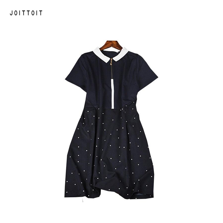 Black dress with white peter pan collar - Women Summer Dress Office Ladies White Peter Pan Collar Patchwork Dot Print Blue A Line Dress