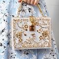 Коробка дизайнерская вечерняя сумочка с букетом на свадьбе; Сумочка-клатч полые рельефная акриловая роскошные сумки банкетные вечерние ко...