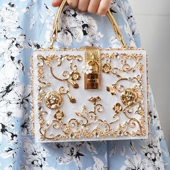 Fashion Box evening bag diamond flower Clutch Bag hollow relief Acrylic luxury handbag banquet party purse women's Shoulder bag