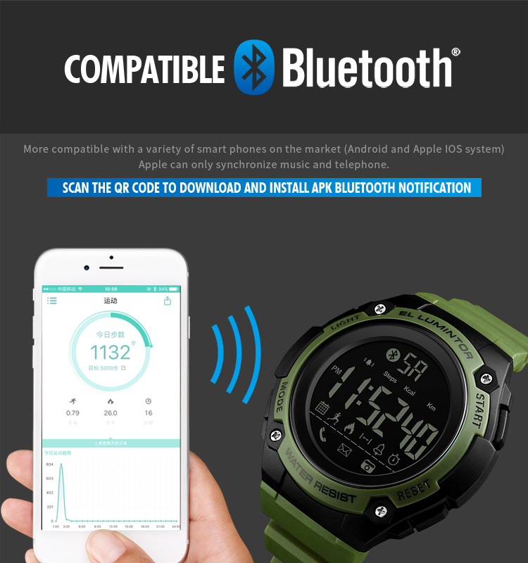 SKMEI 2019 New Bluetooth Sport Smart Watch Men Waterproof Calories Pedometer digital SmartWatch For IOS Android (7)