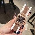 Винтажные женские модельные часы с римским номером  модные часы с кристаллами  ультра тонкий Миланский Браслет  наручные часы  квадратные ч...