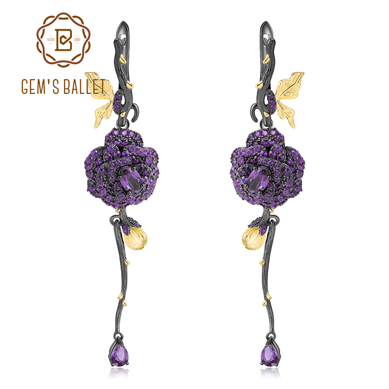 GEM S BALLET 1 36Ct Natural Amethyst Rose Flower Earrings 925 Sterling Silver Handmade Design Drop