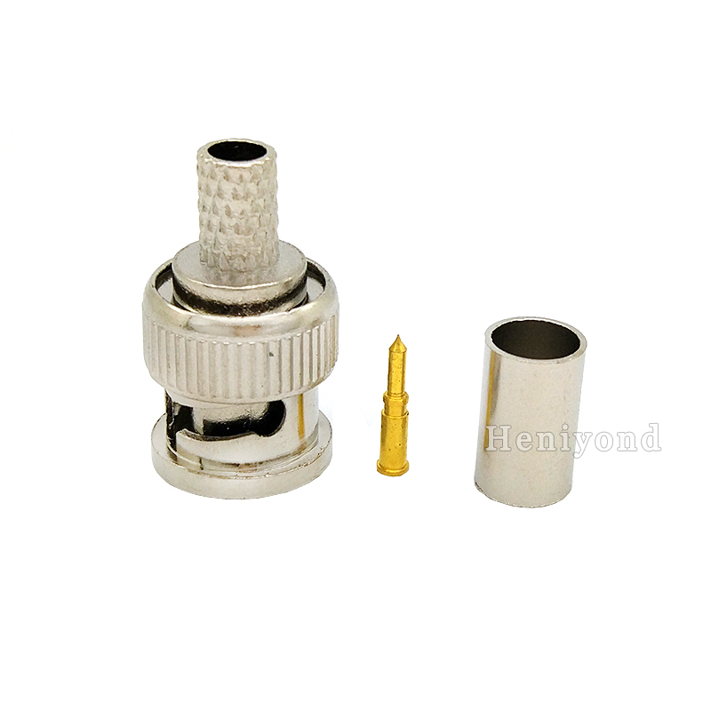 цена на 10PCS BNC male plug for RG59 coaxial cable BNC Connector Adapter female 3-piece crimp connector RG59 Coupler for CCTV Camera