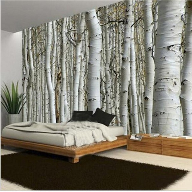 beibehang Custom Seamless Mural Simple European 3D White Birch ...