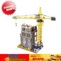 Лепин 15031 4425 шт. MOC строительство серии строительство с Набор кран модель строительные блоки кирпичи игрушки Совместимость Legoings